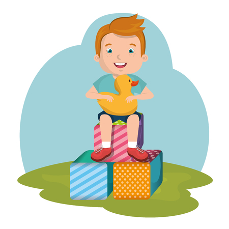 little boy playing with toys character vector illustration design Çizim