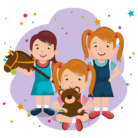 little girls playing with toys characters vector illustration design