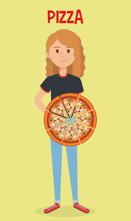 beautiful woman with italian pizza vector illustration design Archivio Fotografico - 104983186