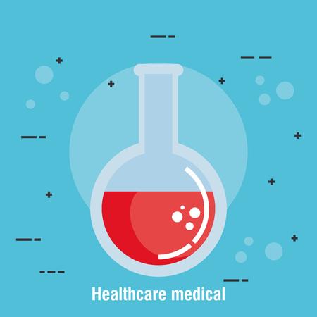 provetta sanitaria medica icone illustrazione vettoriale design Vettoriali