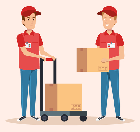 team couriers characters delivery service vector illustration design Illustration
