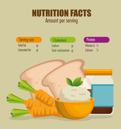 healthy food with nutritional facts vector illustration design Vector Illustration