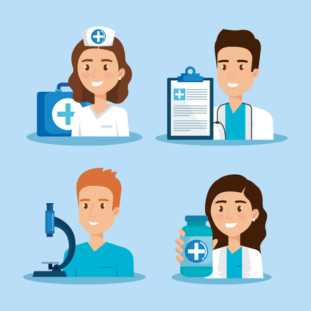 healthcare icons and medical staff characters vector illustration design Stok Fotoğraf - 114793612