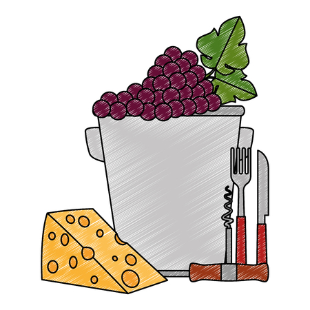 bucket with grapes cluster and cheese vector illustration design 写真素材