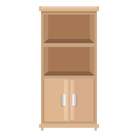office boockcase wooden empty vector illustration design