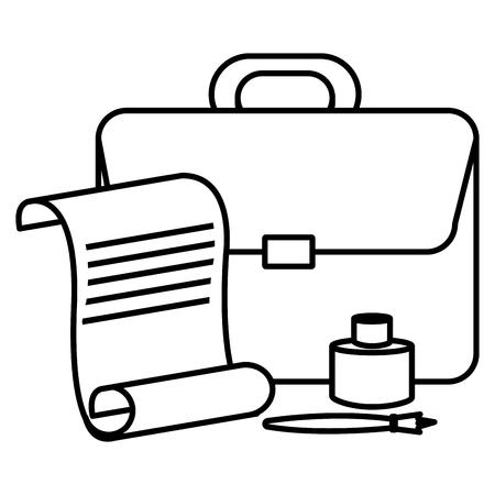 fountain pen with ink bottle and portfolio vector illustration design Stock fotó