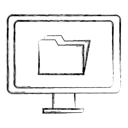 computer display with folder vector illustration design