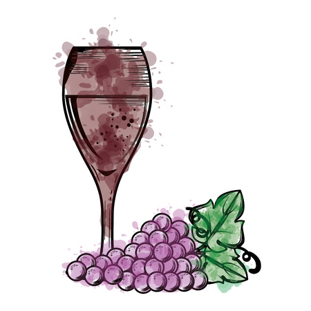 wine cup and grapes vector illustration design Stock Photo