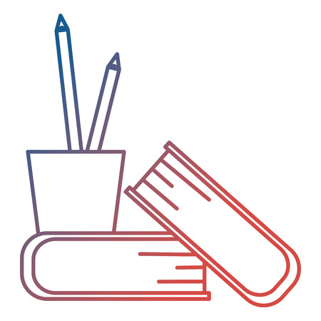 pencil holders with books vector illustration design Illustration