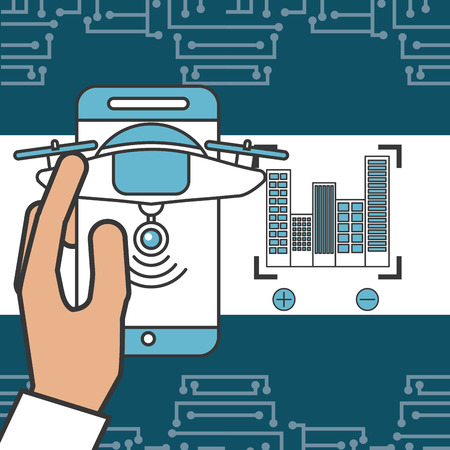 drone technology futuristic hand holding smartphone buildings signal vector illustration