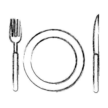schotel met bestek iconen vector illustratie ontwerp Stockfoto