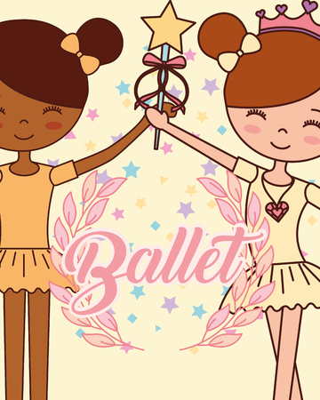 beautiful ballerinas ballet girls holding magic wand  star happy vector illustration