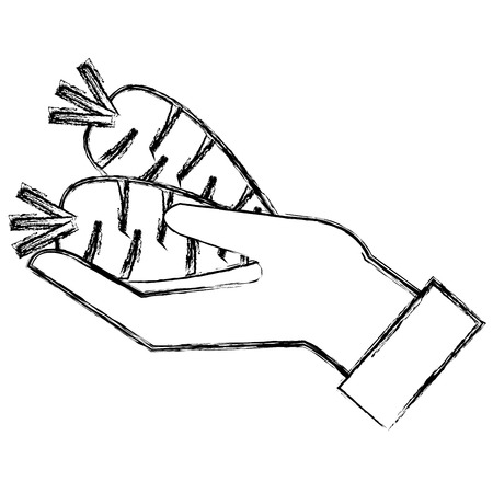 hand with carrot fresh vector illustration design Çizim