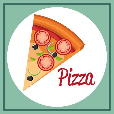 delicious italian pizza portion vector illustration design