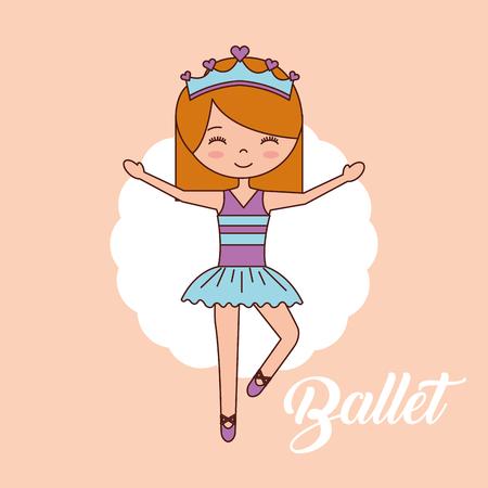 beautiful ballerina ballet standing on one foot blue crown hands up vector illustration