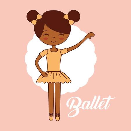 beautiful ballerina ballet label girl happy hand up vector illustration