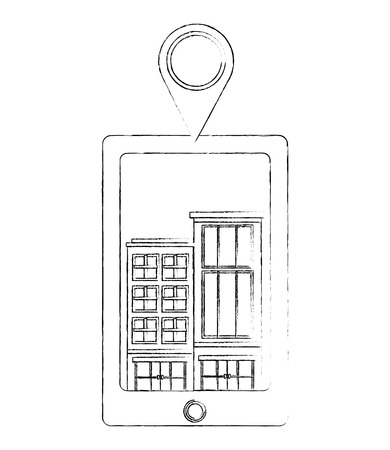 tablet device with buildings structures and pin location vector illustration design