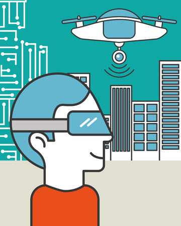 man using vr goggles drone flying in the city Stock Vector - 114876698