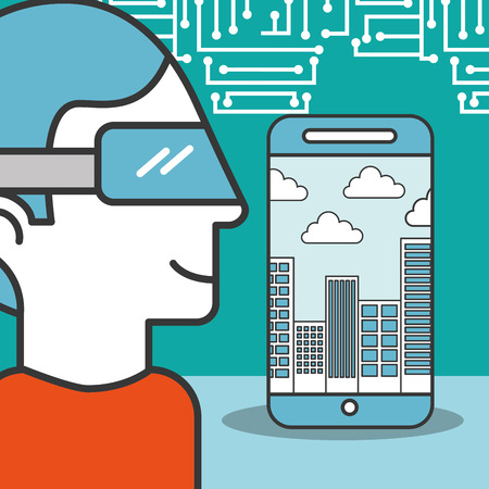 man cartoon using vr glasses smartphone city technology