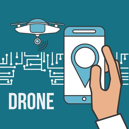 drone technology futuristic hand holding smartphone vector illustration