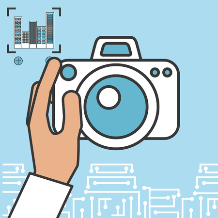 drone technology futuristic focus image hand holding camera vector illustration Иллюстрация