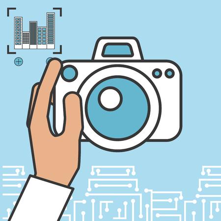 drone technology futuristic focus image hand holding camera vector illustration Illustration
