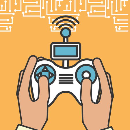 drone technology futuristic hands holding control game signal vector illustration