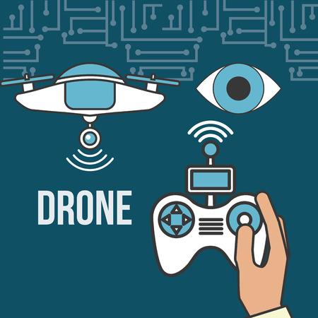 drone technology futuristic surveillance eye hand holding control game screen vector illustration Stock Illustratie