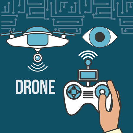 drone technology futuristic surveillance eye hand holding control game screen vector illustration Illustration
