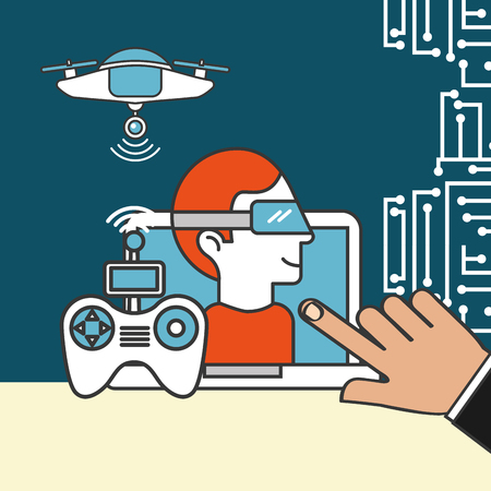 drone technology futuristic realistic glasses control game hand pointed screen vector illustration