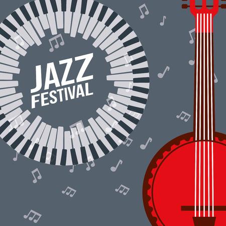 jazz festival instruments piano keys red banjo music notes vector illustration Foto de archivo - 114767022