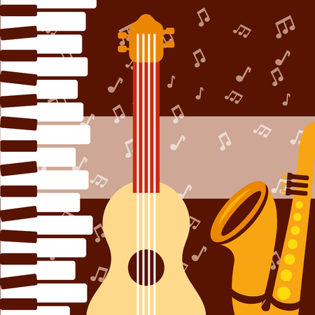 jazz festival instruments piano keys music notes guitar saxophone vector illustration