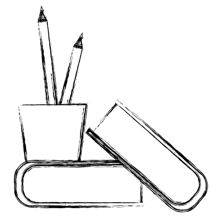 pencil holders with books vector illustration design Фото со стока