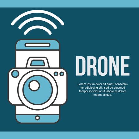 drone technology futuristic signal smartphone camera screen vector illustration