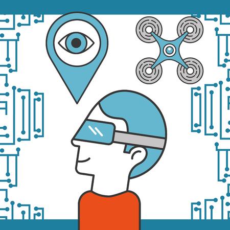 drone technology futuristic man using realistic glasses location surveillance eye vector illustration Stock Illustratie