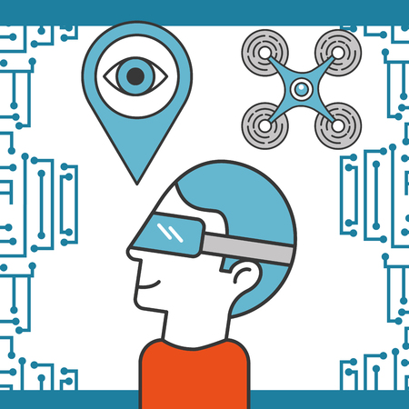 drone technology futuristic man using realistic glasses location surveillance eye vector illustration Illustration