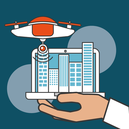 drone technology futuristic hand holding computer screen buildings city vector illustration