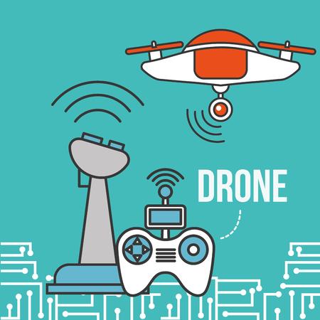 drone technology futuristic control game signal vector illustration Illustration
