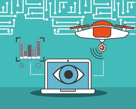 drone technology futuristic computer device surveillance eye focus buildings vector illustration Stock Vector - 114844056
