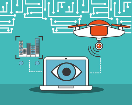 drone technology futuristic computer device surveillance eye focus buildings vector illustration Illustration