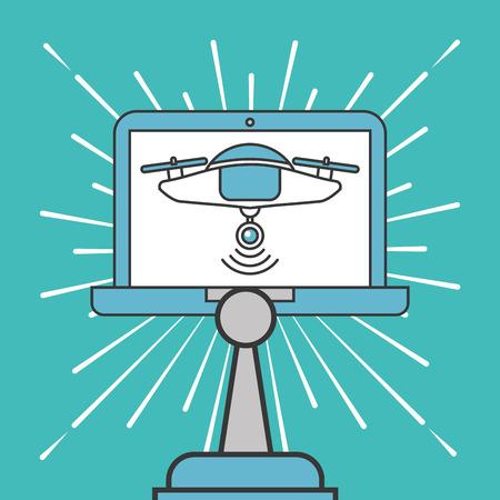 drone technology futuristic control tablet vector illustration Stock Illustratie