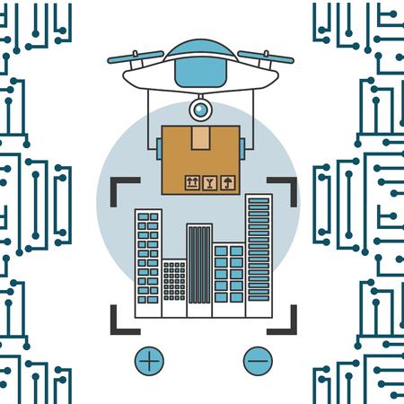 drone technology futuristic circuit focus buildings device holding box vector illustration