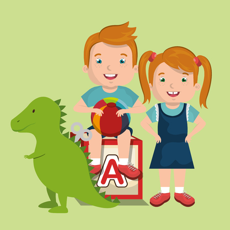 little boy and girl playing with toys characters vector illustration design Illustration