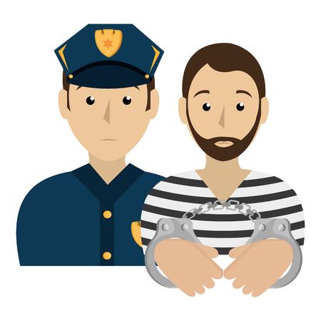 Gefangener mit Polizei Avatar Charakter Vektor-Illustration Design