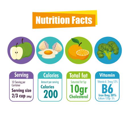 cibo sano con fatti nutrizionali illustrazione vettoriale design Vettoriali