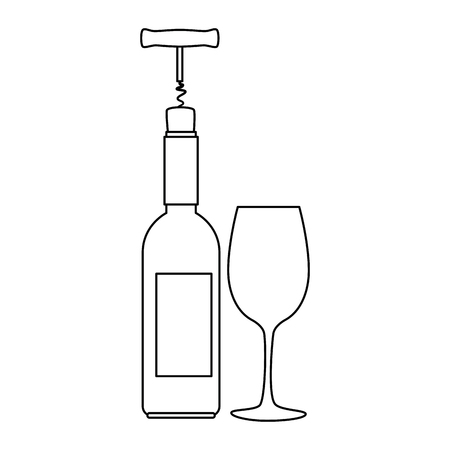 wine bottle silhouette with corkscrew and cup vector illustration design Stock Vector - 105023945