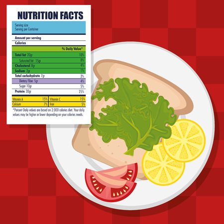 healthy food with nutritional facts vector illustration design Stockfoto - 114844069