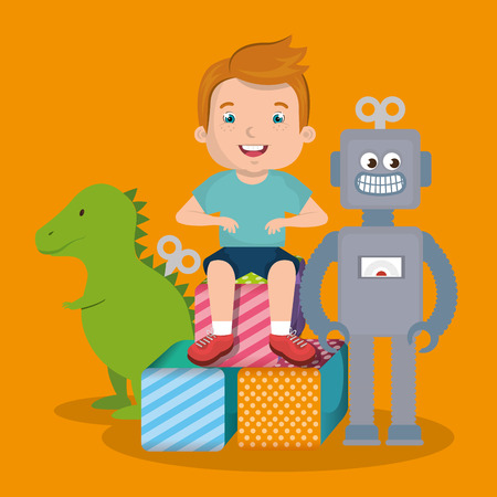 little boy playing with toys character vector illustration design Zdjęcie Seryjne