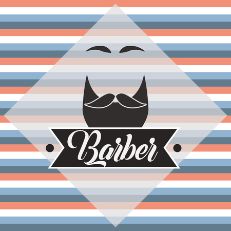 baber shop stripes colors background beard moustache eyebrows figure vector illustration
