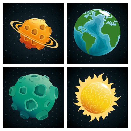 planets of the solar system scene vector illustration design  イラスト・ベクター素材
